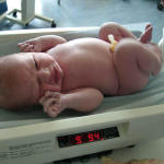 A very healthy nine pounds nine and a half ounces!